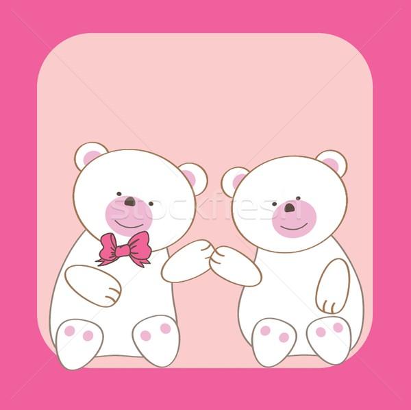 テディベア カップル 笑顔 レトロな クマ カード ストックフォト © mcherevan