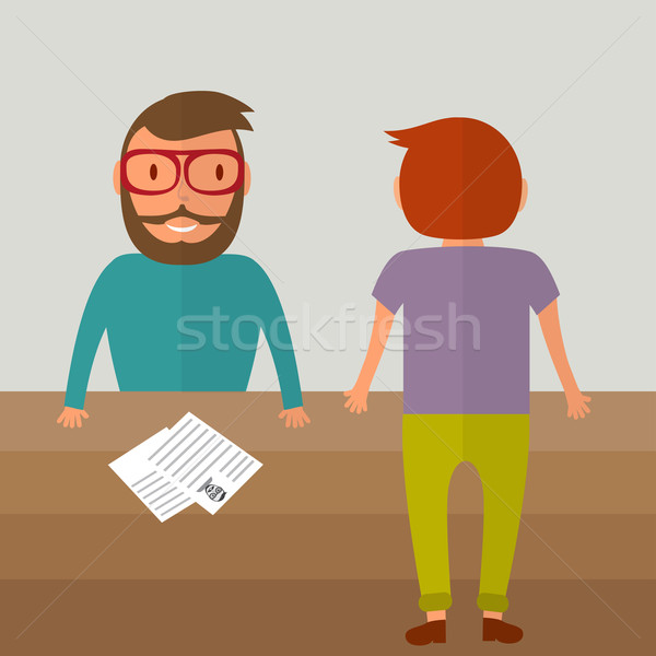 Interview for a job. Two young men from different sides of the table. Resume paper blank on the tabl Stock photo © mcherevan