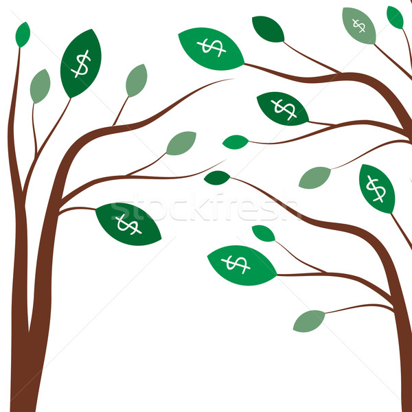 Money trees. Business concept with white dollar signs on the green tree leaves. Stock photo © mcherevan