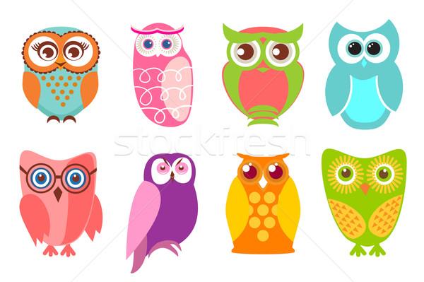 Set of cartoon owls  Stock photo © mcherevan