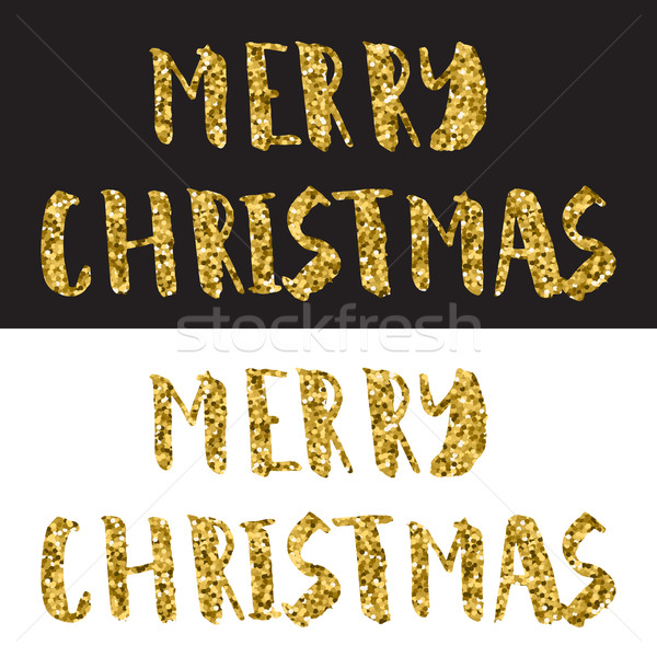 Merry Christmas Lettering Design. Gold glitter text on white and black background Stock photo © mcherevan