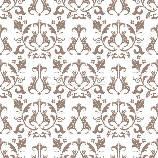 Bézs fehér damaszt végtelen minta öreg stílus Stock fotó © mcherevan