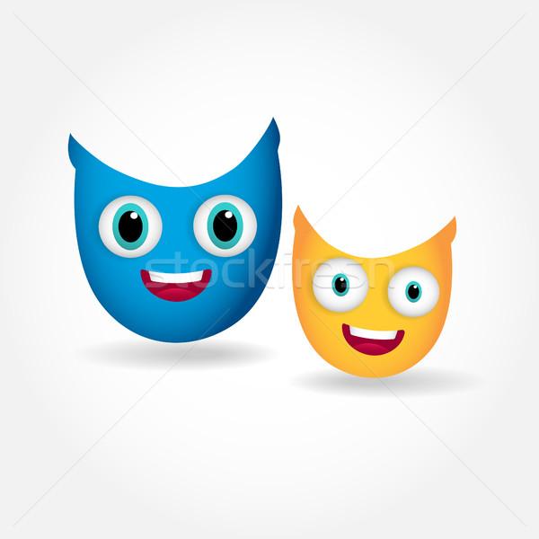 Twee cute glimlachend uilen geïsoleerd witte Stockfoto © mcherevan