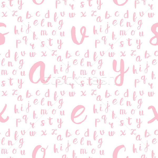 Seamless pattern with black alphabet letters  Stock photo © mcherevan