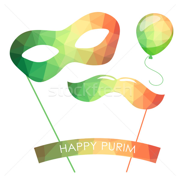 Purim holiday card or banner design. Bright carnival mask, ballon and moustaches.  Stock photo © mcherevan