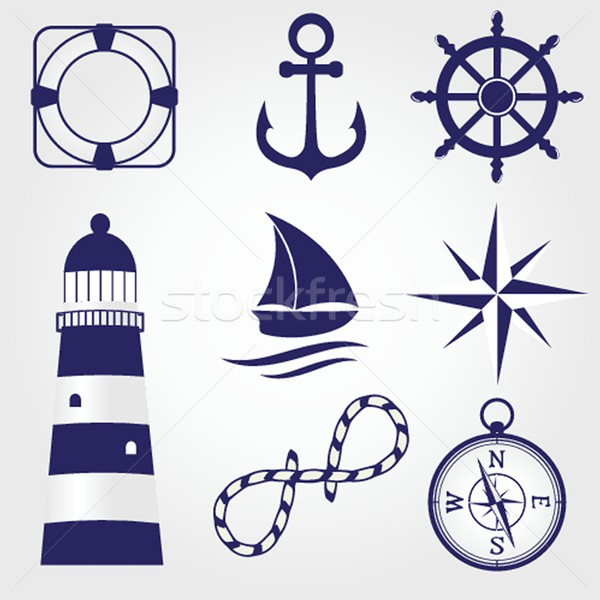 Set of vintage nautical labels, icons and design elements Stock photo © mcherevan