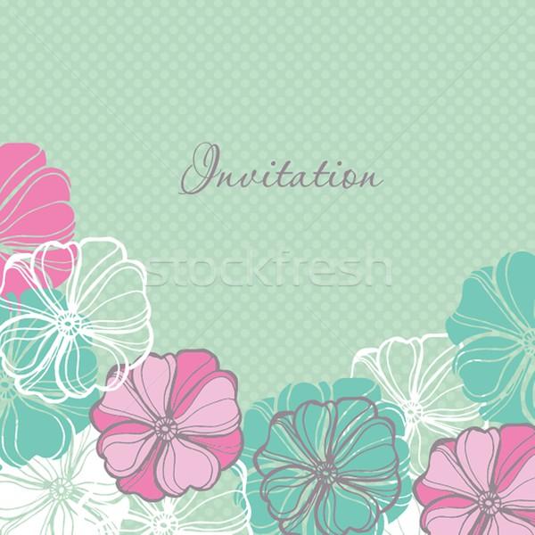 Esküvői meghívó üdvözlőlap design tarka cseppek virágmintás elemek Stock fotó © mcherevan