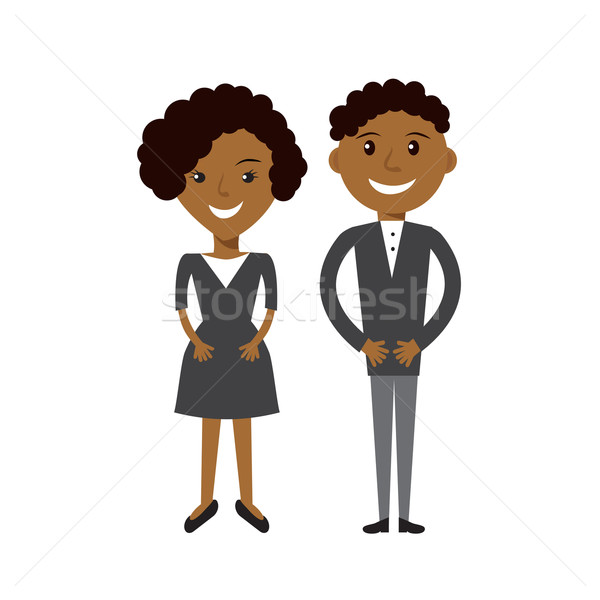 Couple of business woman and business man. Black afroamerican business people flat illustration. Stock photo © mcherevan