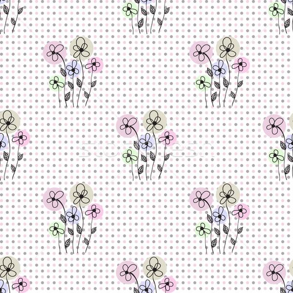 Bezszwowy kwiatowy proste wektora niebieski Zdjęcia stock © mcherevan
