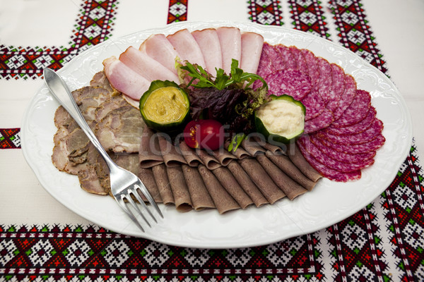 Banquete menu delicioso salame fumado Foto stock © mcherevan