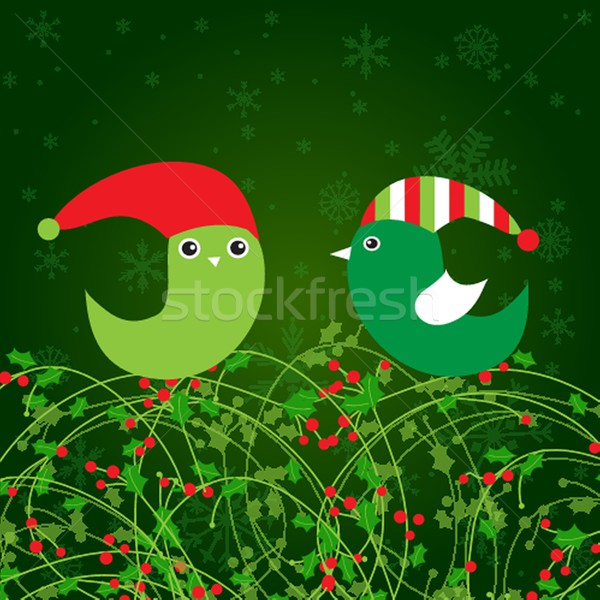 Christmas frame with holly berry leaves  background Stock photo © mcherevan