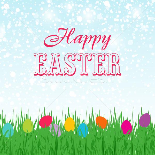 Pasen exemplaar ruimte hemel cute Easter Bunny geschilderd Stockfoto © mcherevan