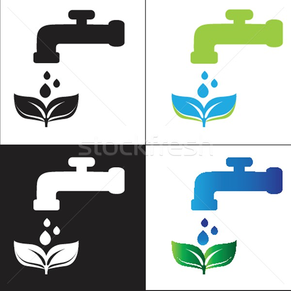 Set water tap with drop - eco sign Stock photo © mcherevan