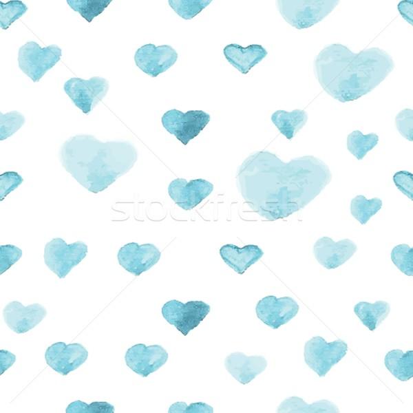 Naadloos patroon aquarel verf hart Stockfoto © mcherevan