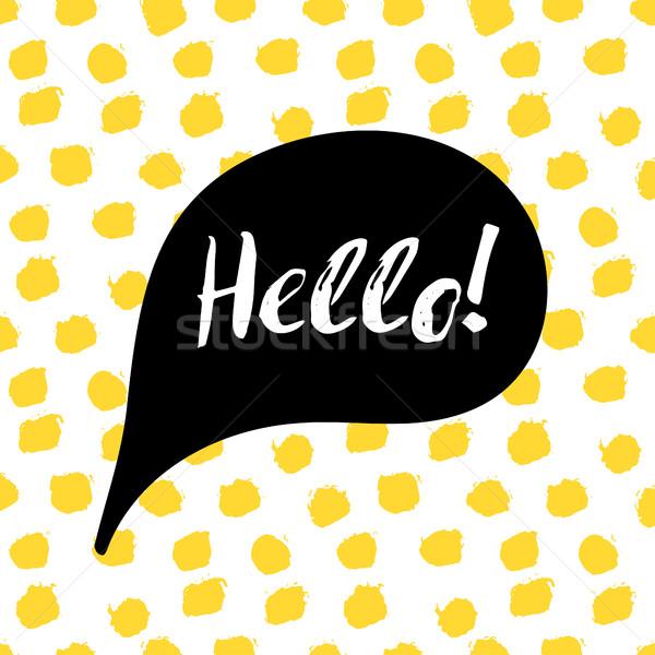 Tekstballon tekst hallo confetti motivatie citaat Stockfoto © mcherevan