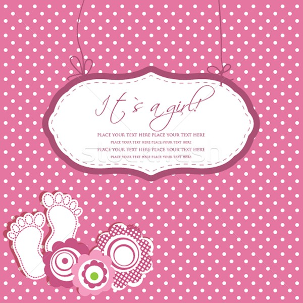Baby girl shower card with foot steps and frame for your text Stock photo © mcherevan