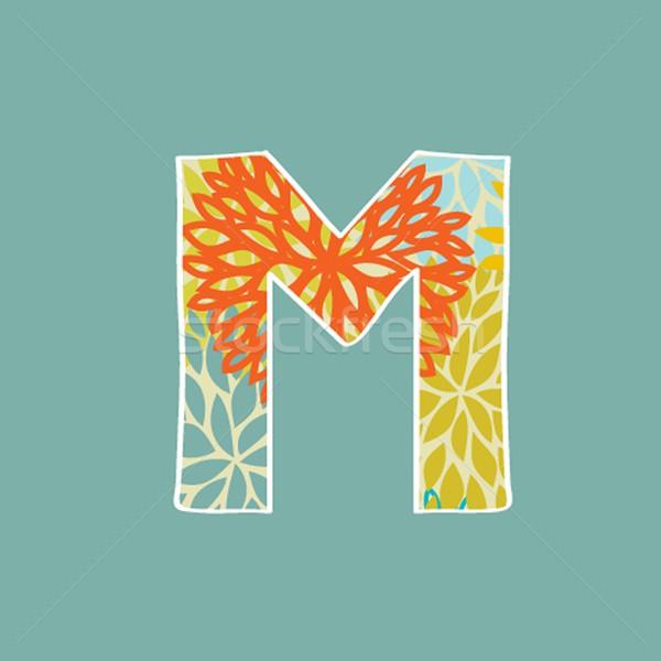 рисованной цветочный буква М изолированный синий Vintage Сток-фото © mcherevan
