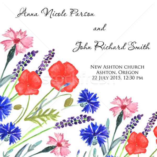 Watercolor painted wedding invitation. Cornflower, lavender, sweet pea  and poppy flowers pattern Stock photo © mcherevan