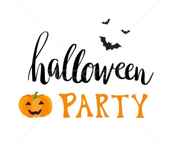 Halloween strony wektora kartkę z życzeniami napisany tekst Zdjęcia stock © mcherevan