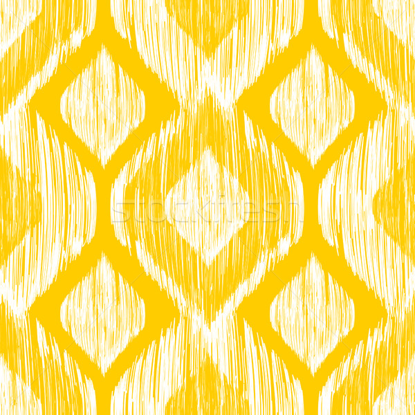 Ethnic modern tribal ikat white and yellow fashion seamless pattern. Vector ikat background. Stock photo © mcherevan