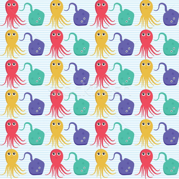 Seamless pattern with octopus and ramp. Easy editable. Stock photo © mcherevan