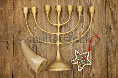 Jewish candlestick with a branch lemons and goat horn. Symbols of the great holiday of Hanukkah. On  Stock photo © mcherevan