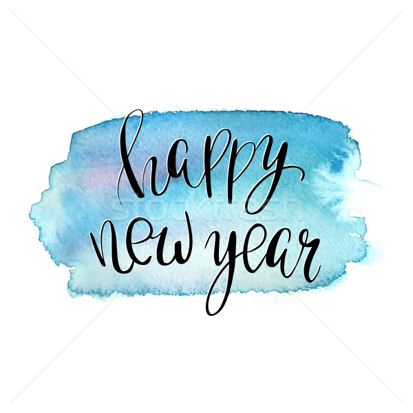 Happy New Year lettering, hand drawn phrase for invitations, posters and cards Stock photo © mcherevan