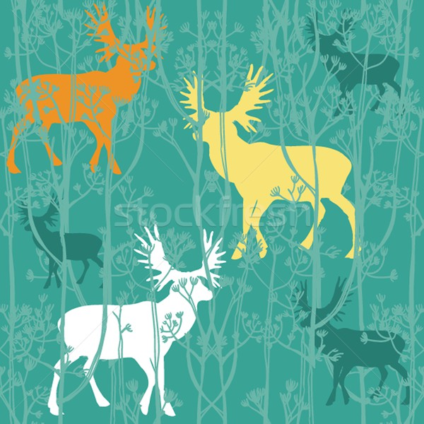 Seamless christmas pattern with deers in the forest Stock photo © mcherevan