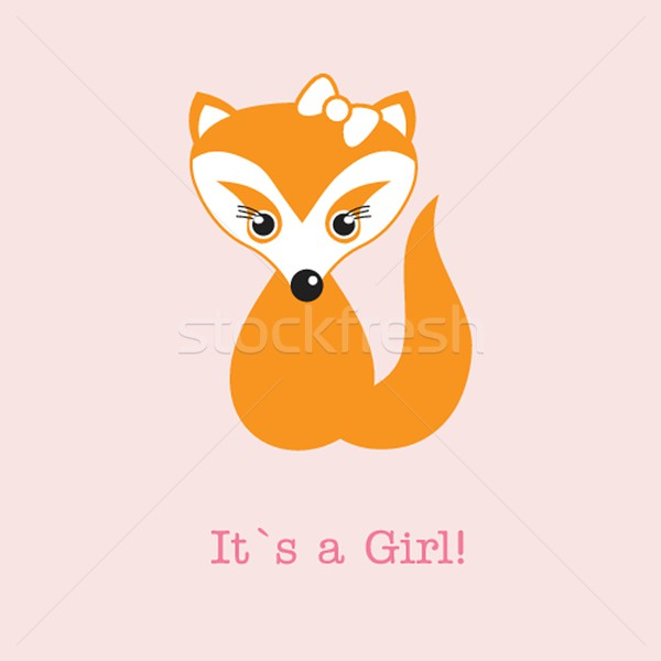 Baby girl fox arrival announcement birth card. Stock photo © mcherevan