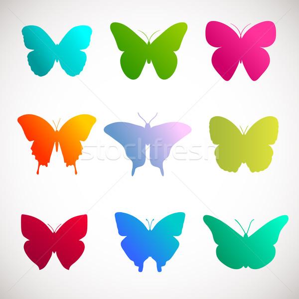 Vettore raccolta farfalle luminoso colori bianco Foto d'archivio © mcherevan