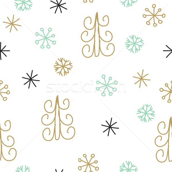 Sneeuwvlok kerstboom christmas decoratie patroon Stockfoto © mcherevan