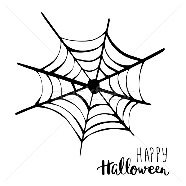 Black spider net icon. Happy Halloween text. Holiday vector background. Stock photo © mcherevan