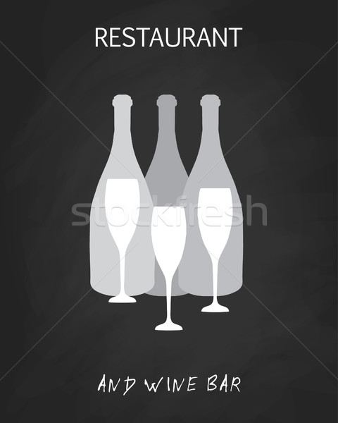 Wine list design templates with different wine bottles and glasses Stock photo © mcherevan