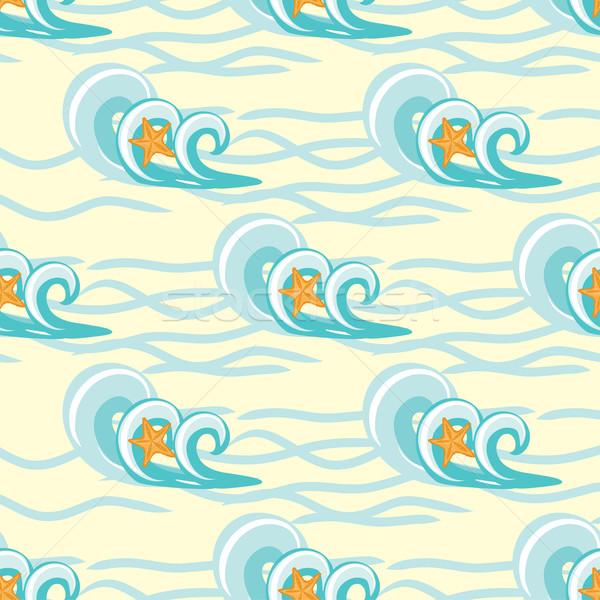 Dalgalar denizyıldızı deniz model plaj Stok fotoğraf © mcherevan