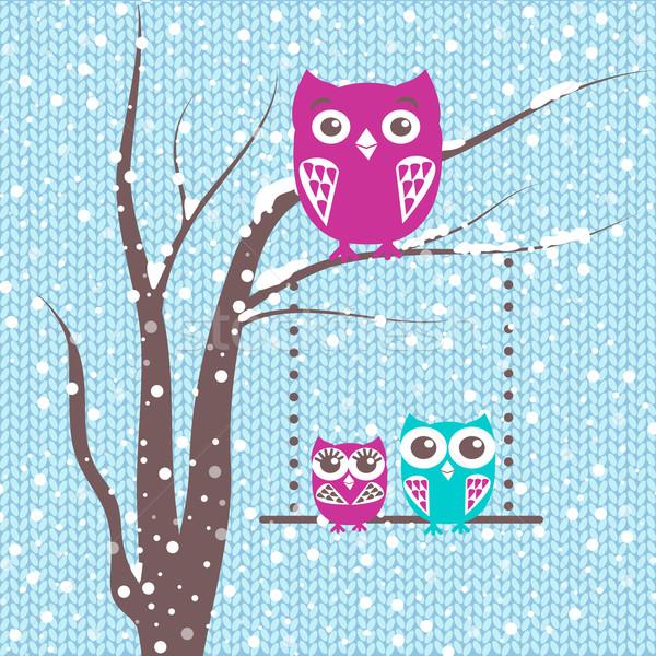 Branche famille hiboux hiver cute Photo stock © mcherevan