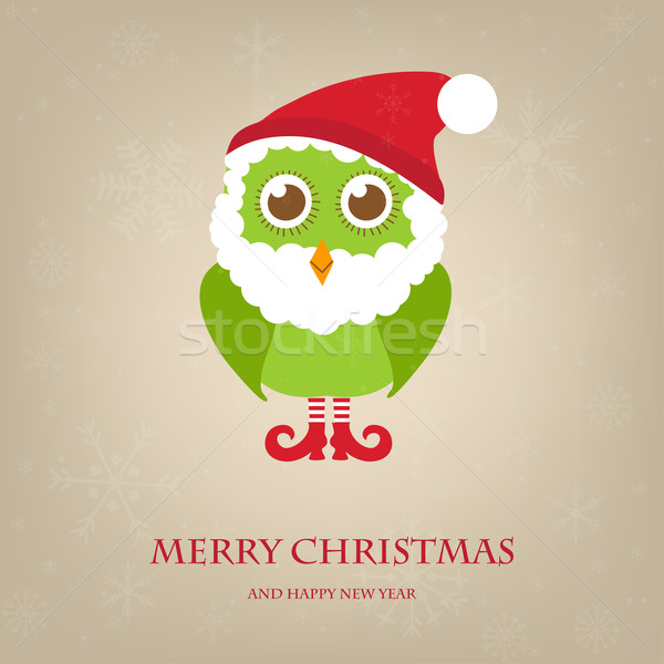 Christmas owl in Santa hat and beard. Vector holiday illustration. Christmas card Stock photo © mcherevan