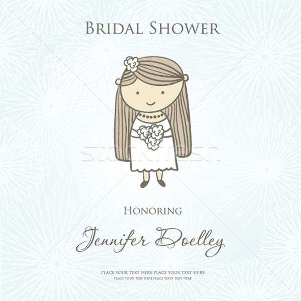 Duş düğün davetiyesi sevimli karikatür gelin Stok fotoğraf © mcherevan