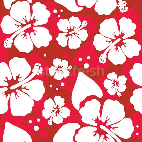 Seamless pattern with hawaiian hibiscus flower Stock photo © mcherevan