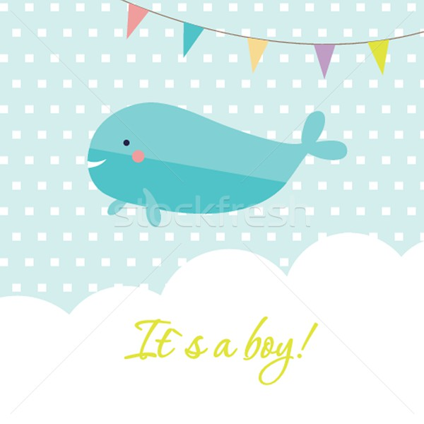 Baby boy shower card with cute whale and flags Stock photo © mcherevan