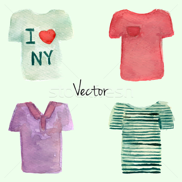 Stock photo: Watercolor painted T-shirt set. Vector illustration. White, red, violet polo and striped t-shirt ill