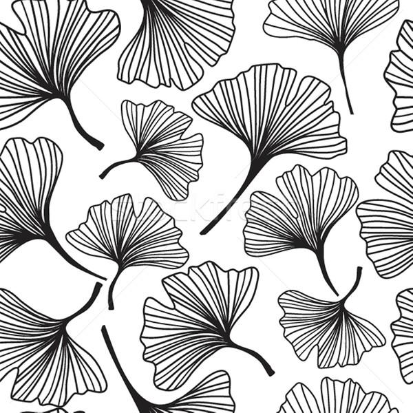 Seamless decorative flower background with ginkgo biloba Stock photo © mcherevan