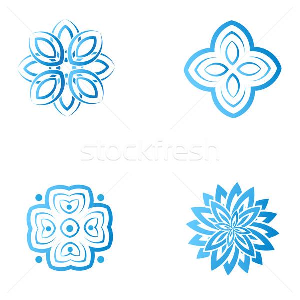 набор четыре синий цветок аннотация логотип Сток-фото © mcherevan