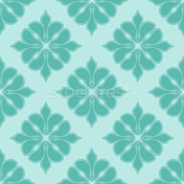 Végtelenített damaszt minta kék színek vektor Stock fotó © mcherevan
