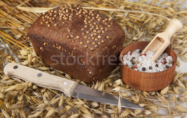 Stock fotó: Cipó · házi · készítésű · kenyér · fekete · mustár · magok