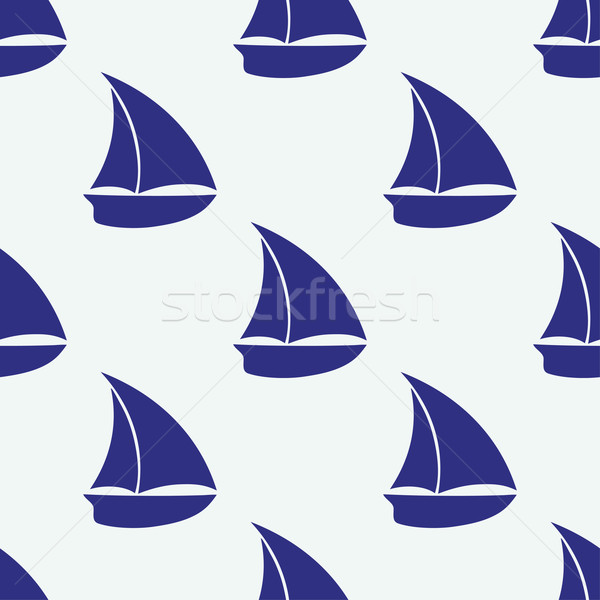 Vector seamless pattern with sea elements small ship Stock photo © mcherevan