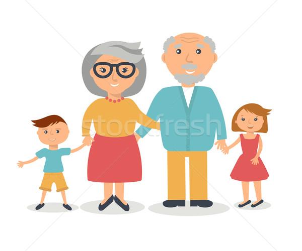 Idős nagyszülők emberek család stílus vektor Stock fotó © mcherevan
