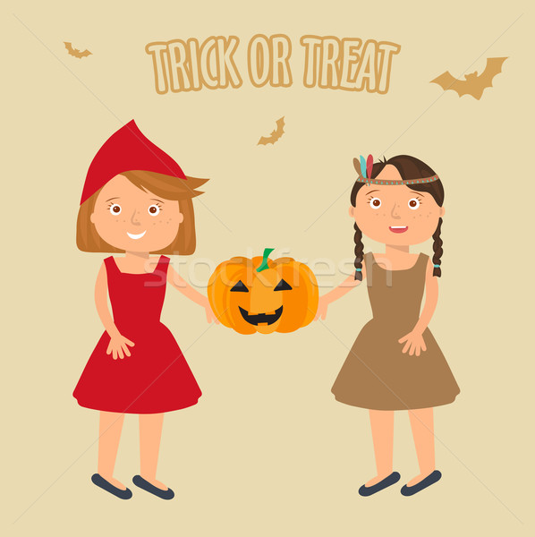 Illustration of Kids Trick or Treating Stock photo © mcherevan