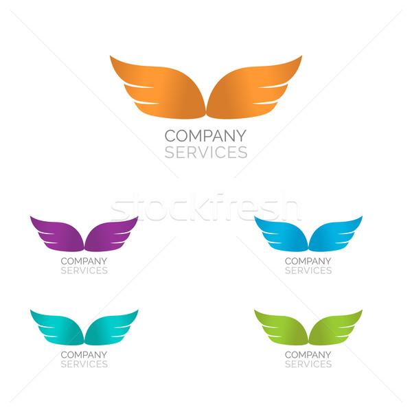 ストックフォト: 抽象的な · 単純な · 翼 · ロゴ · ベクトル · アイコン