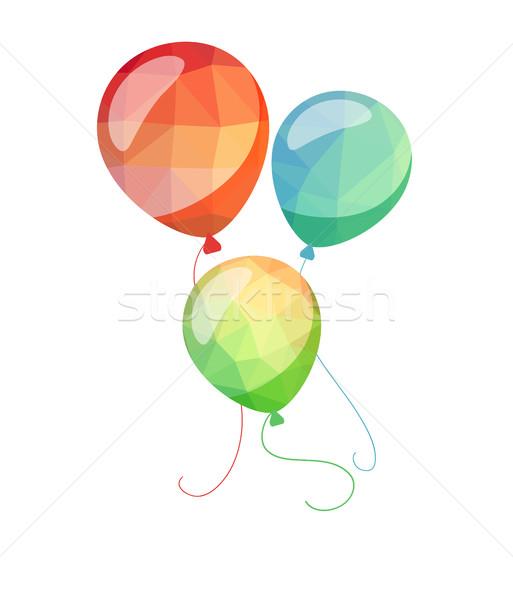 Stockfoto: Laag · vakantie · ballonnen · wenskaart · Rood · Blauw