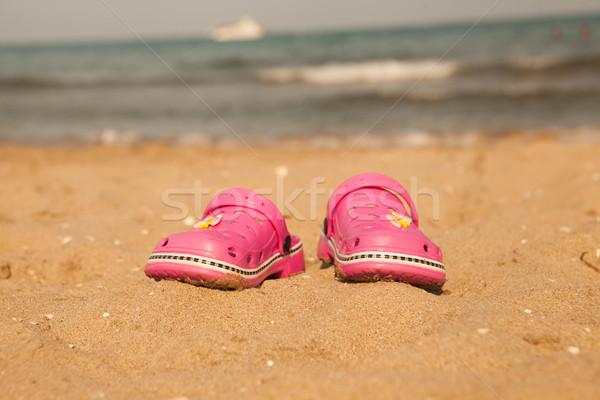 Piasku plaży jezioro Balaton kapcie wody Zdjęcia stock © mcherevan